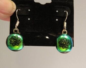 Beautiful fused glass green dangle earrings