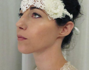 Bridal Lace Headband, Wedding lace Headband, Venise lace, Vintage Boho Bohemian style wedding hair accessories.