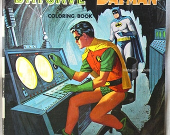 Vintage Batman Coloring Book Robin In The Batcave With Batman 1966