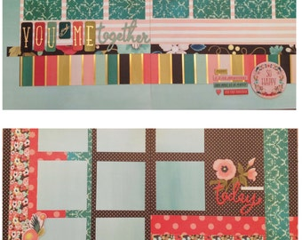 You and Me Together / Today Kit - Pre-cut TWO DIFFERENT  2-PAGE 12x12 Scrapbook Layouts