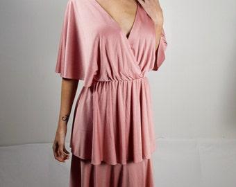 Vintage 70s Pink Dress/ Small/Medium