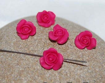 5 Pierced magenta miniature roses, jewelry supply, magenta roses, Polymer clay miniature flower, Rose flowers, jewellery making, 1 piece