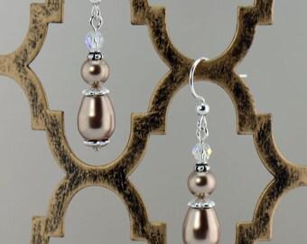 Bronze Pearl Drop Earrings - E2581
