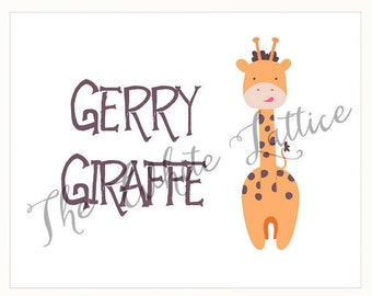 Kids Wall Art 'Gerry Giraffe', Children's Printable Art, Instant Download, Giraffe Nursery Wall Art, Digital Decor Print