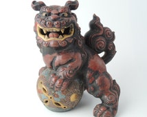 Japanese Kutani porcelain, Tamanori shishi ( Lion rolling a ball), Foo dog
