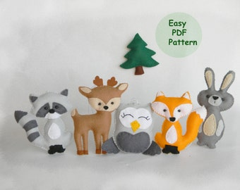SALE Easy woodland animals pattern,  Hand Sewing Pattern, DIY Baby Mobile Pattern, Fox, Deer, Raccoon, Owl, Bunny, Woodland Animals set PDF