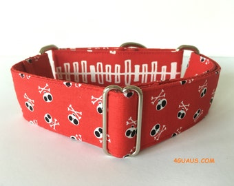 Dog Collar Red Pirate, Martingale Dog Collar, Greyhound Collar, Martingale collar - 4GUAUS.com