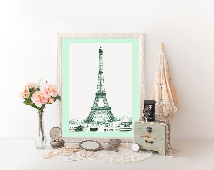 FRENCH EIFFEL TOWER Digital Print Mint Tinted Eiffel Tower Photograph Art Print Mint Paris Poster Printable Diy Art Mint French Room Decor