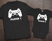 Player 1 Player 2 Matching Sets - Father Son Matching Outfits - Daddy and Son Outfits - Dad and Baby Matching Shirts- Controller