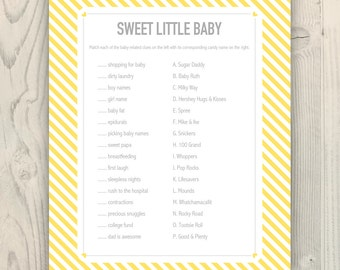 Sweet Little Baby - Candy Match Baby Shower Game - Yellow and Gray - Printable Instant Download
