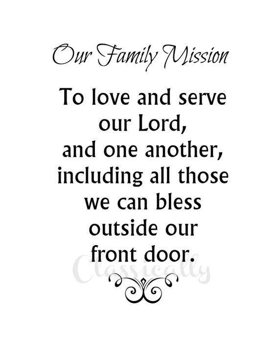 Family Mission Statement Print 8x10 Christian Home Motto