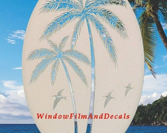 "Right Leaning Palm Trees Oval Static Cling Window Decal 10.5"" x 16"" - White w/Clear Design"