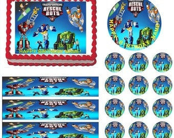 TRANSFORMERS RESCUE BOTS Edible Cake Topper Image Frosting Sheet Cake Decoration Many Sizes!