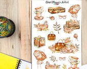 Watercolour Autumn Lady Planner Stickers (S-171)