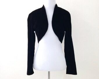 80s Velvet Bolero Jacket Cropped Reddish Black Jacket Small XS