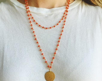 Dual-Layer Red Beaded & Hammered Gold Necklace