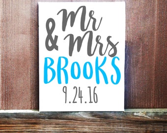 Mr +Mrs Custom Last Name Canvas, Hand Painted, Wedding Gift, Gift For Couple, Home Decor, Wedding Decor, Reception Decor, Head Table Decor