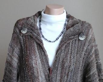 Suri Alpaca Coat.Multi coloured fleece, handspun, handknitted.