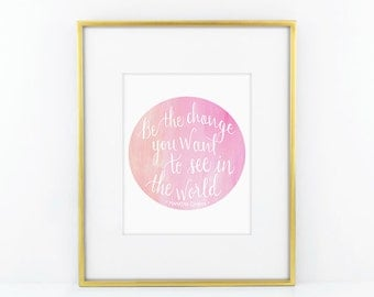 Be The Change You Want To See In The World, Gandhi Quotes, Gandhi Art Prints.