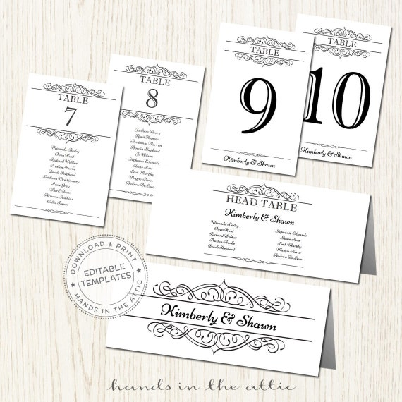 Wedding seating chart template seating plan printable for Table numbers for wedding reception templates