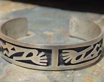 Manuel Hoyungwa ~ Vintage Hopi Sterling Silver Kokopelli Cuff Bracelet