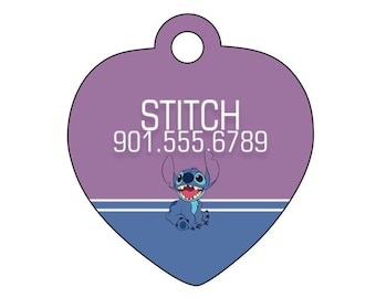 Disney Lilo and Stitch Dog Tag Pet ID Tag Personalized w/ Your Pet's Name & Number