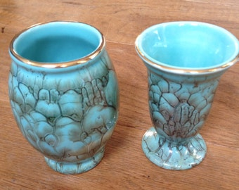 Vintage Little Pair of Dutch Marbled Effect Turquoise Vases, Very Good Condition.