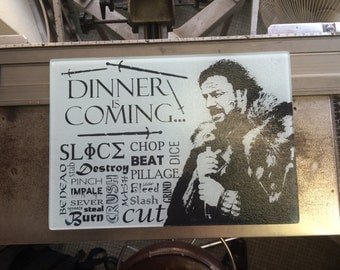 Game of Thrones Glass Chopping Board - 'Dinner is Coming' - Winter is Coming - Ned Stark