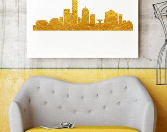 Milwaukee Wisconsin Gold Print - Art Poster - Cityscape Wall Art - Milwaukee Skyline - Home Decor