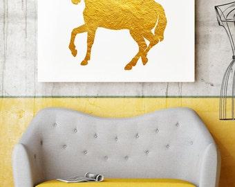 Horse Art Print - Home and Office Decor - Gold  Wall Art - Gift Idea - Golden Animals - Art Print