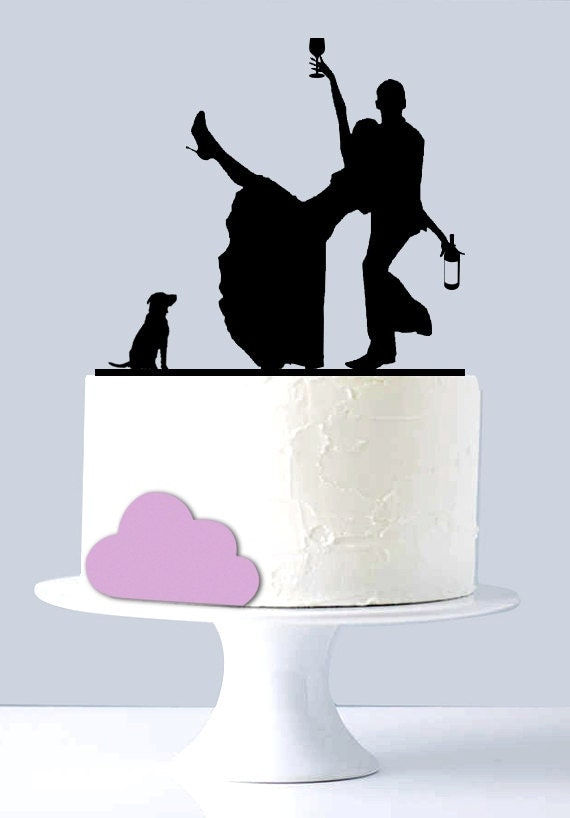 Funny Wedding Cake Topper Drunk Couple Acrylic Silhouette