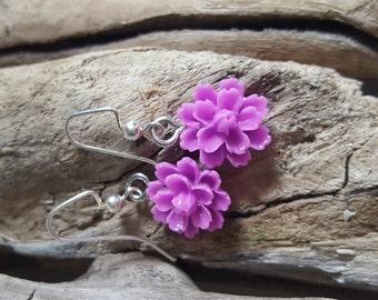 Light Purple Flower Earrings