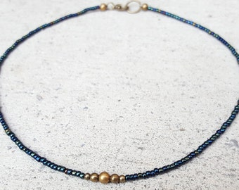 Dark Green Brass Beaded Choker, Green Seed Bead Choker, Green Choker, Tiny Beads, Dark Green Necklace, Beaded Necklace, Minimal Jewelry
