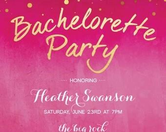 Gold Dots Glitzy Glam Bachelorette Party Invitation