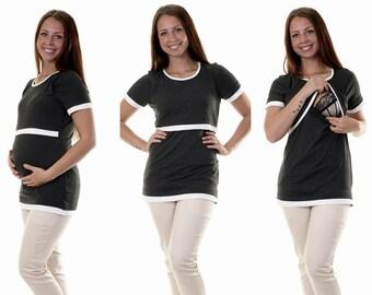 Maternity shirt still shirt still top 3 in 1 graphite maternity blouse