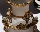 1960s to 1970s-Baroque Cherubs, Tobacciana-Vintage Glass- 2 Piece Set-Candy Dishes--Glamorous-Brass-Frosted Glass-Retirees Coupon Code