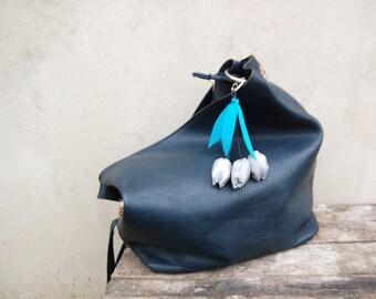 Safety reflector - Reflecting tulip bag cluch tassel - Reflective boho bag charm keyring or key fob Metalic blue accessory keychain charm