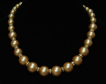 """Golden Pearl necklace.  22 """" long.  N-25"""