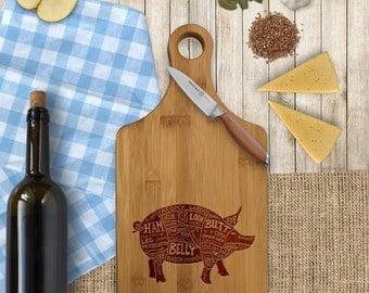 Funny Custom Cheese Board, Funny Custom Paddle Board, Engraved Custom Cheese Board, Cuts of Meat, Pork, Pig Diagram  --CB-PAD-Pork