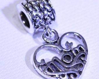 Mom Silver Plated charm fits popular charms bracelets