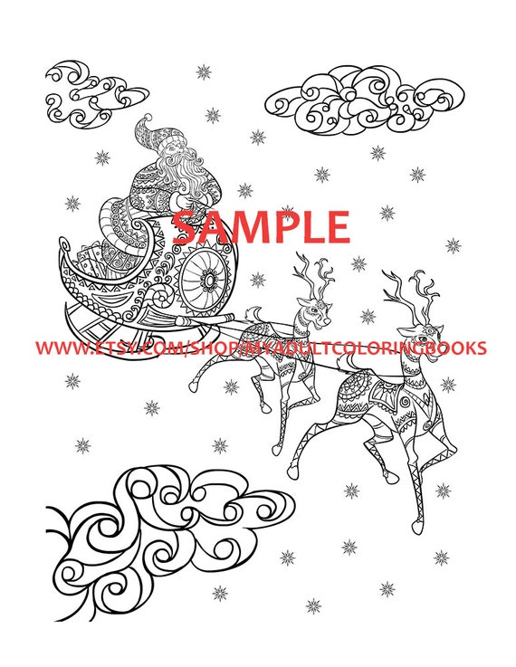 30 christmas themed coloring book pages for adults christmas. Black Bedroom Furniture Sets. Home Design Ideas