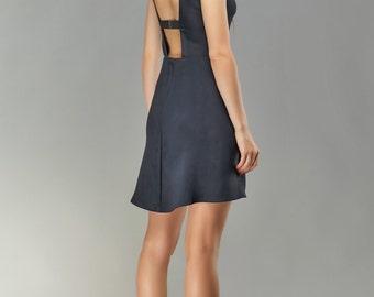Open Back Dress, Little Black Dress, Mini Dress, Backless Dress, Party Dress, Wedding Guest Dress, Black Cocktail Dress, Cocktail Dress.