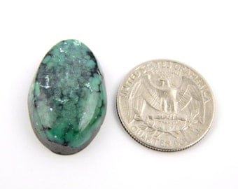 Chinese Green Spiderweb Turquoise Cabochon