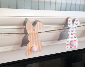 SALE -  CLEARANCE -Bunny Paper Garland/Easter Garland/Easter Bunny/Bunny Banner/Baby Bunny Banner/Paper Bunnies/Easter Decorations