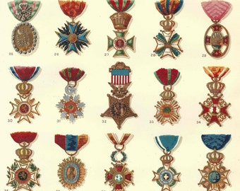 1899 Antique Badges Print Medals of Honor Lithograph Original Book Plate