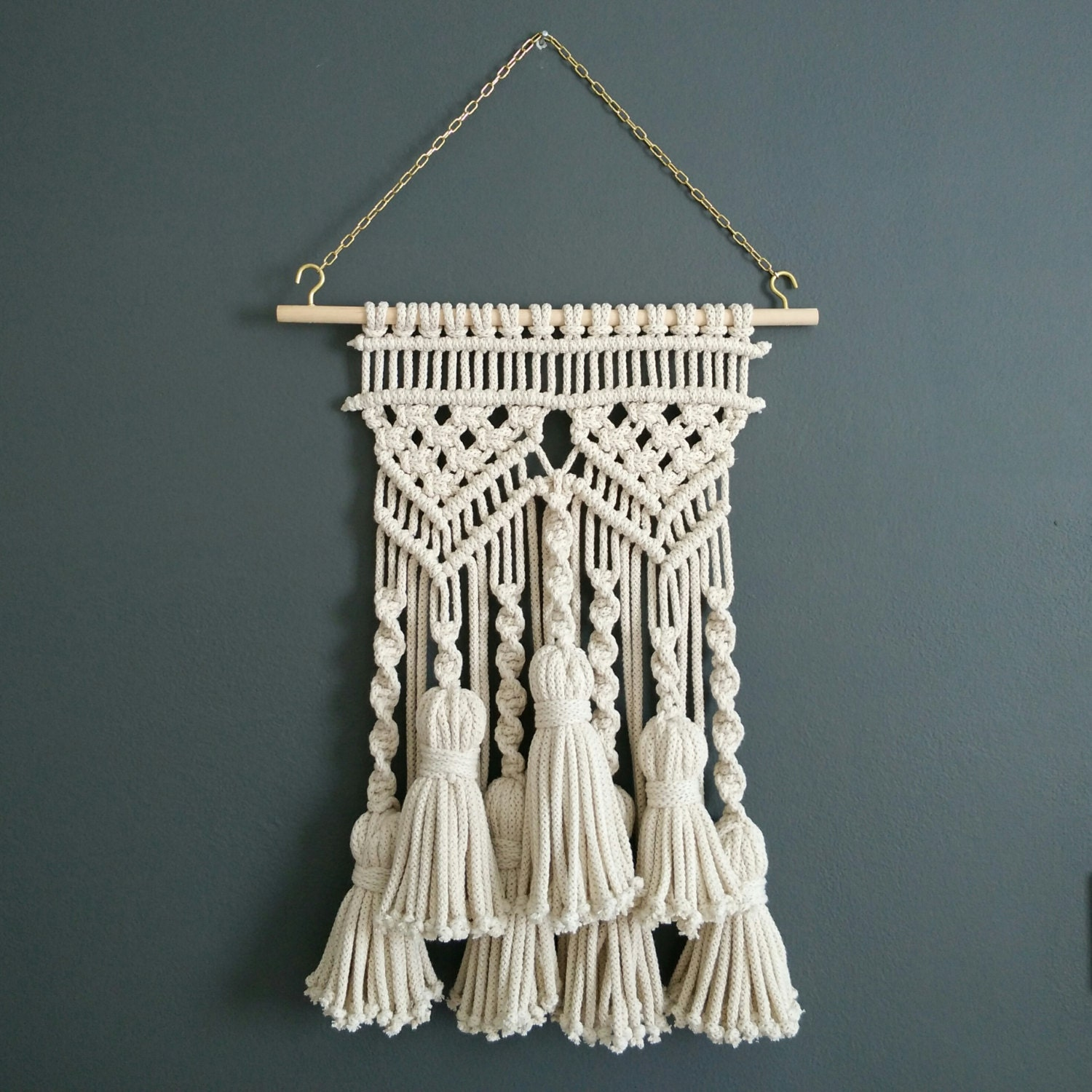 Tassel macrame wall hanging macram bohemian weaving wall art for Deco murale shabby chic