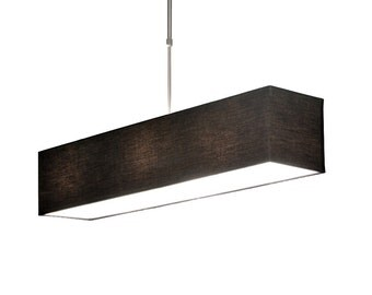 Black ceiling lights with rectangular lampshades. Telescopic lamp.