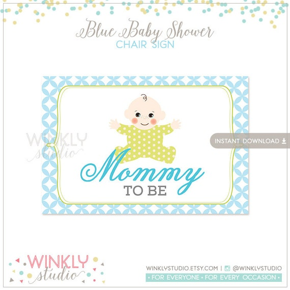 items similar to blue baby shower chair sign mommy to be instant