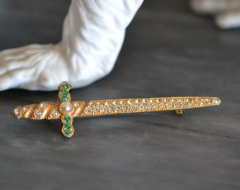 Gold jeweled sword brooch, Sword Pin, Rhinestone Sword Brooch, 1930s Jewelry, 1930s Gold Pin, Sword Jewelry, Rhinestone Sword