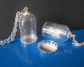 Glass globe necklace Silver chain and lid Dome jewelry Bubble Wish Bottle necklace Vial necklace Orb Terrarium necklace Jewelry supplies